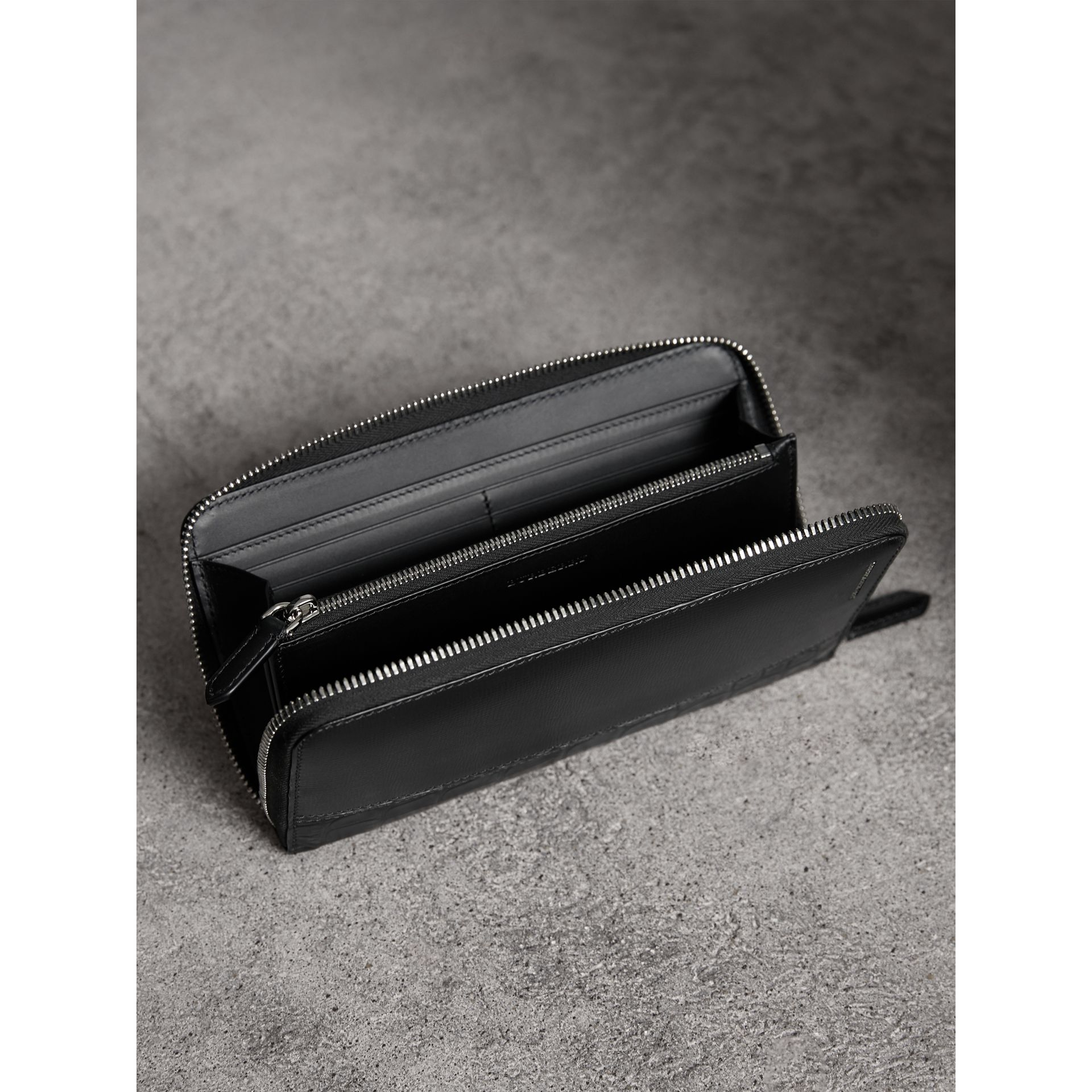 London Leather and Alligator Ziparound Wallet in Black - Men | Burberry United Kingdom - gallery image 3