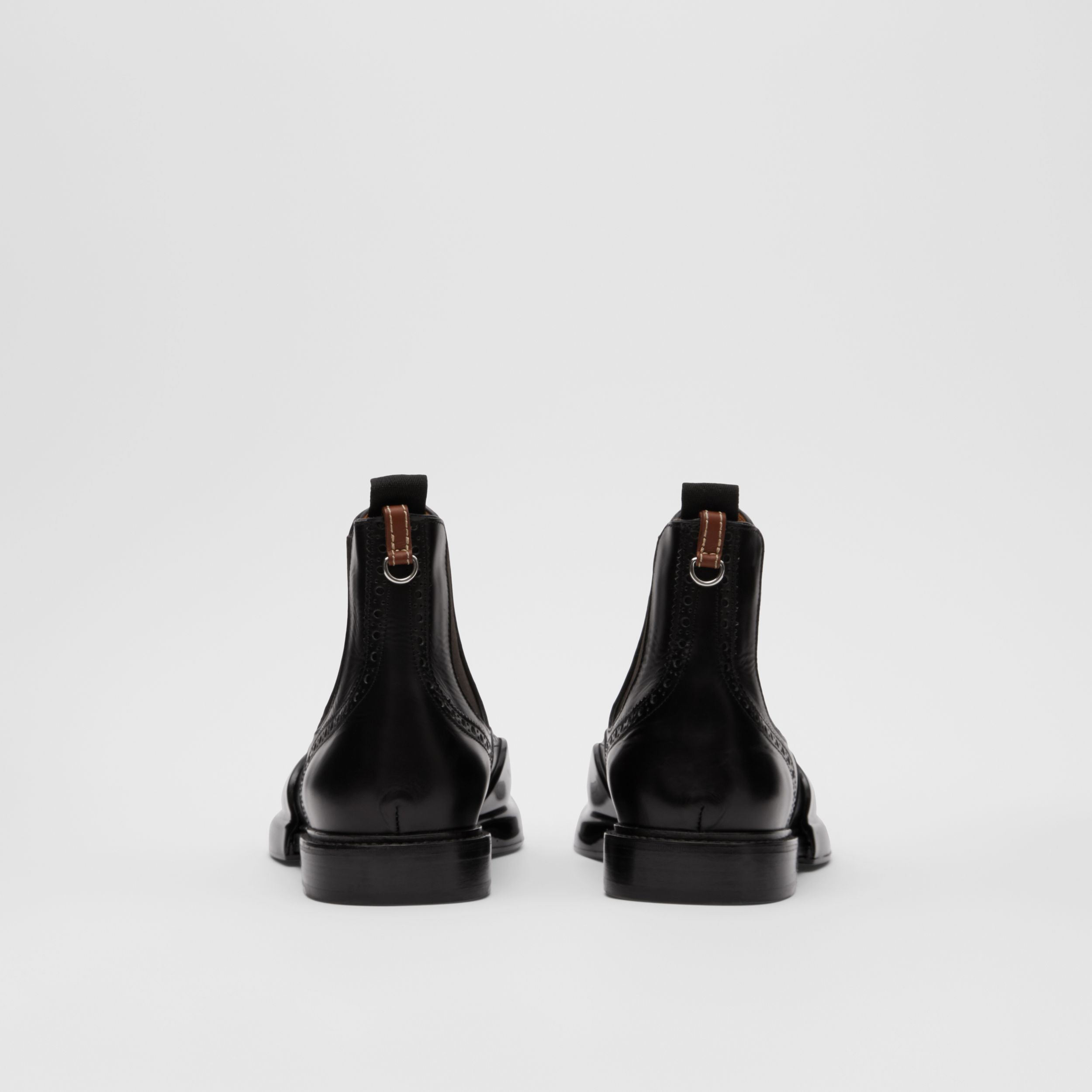 Toe Cap Detail Leather Chelsea Boots in Black | Burberry - 4