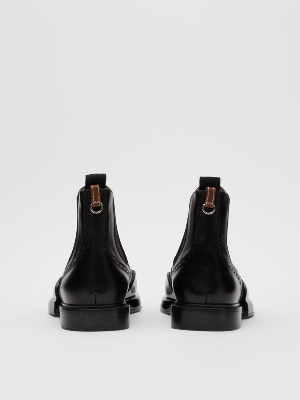 Toe Cap Detail Leather Chelsea Boots in Black | Burberry United States - cell image 3