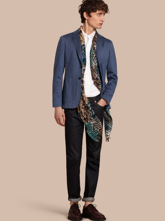 Slim Fit Tailored Cotton Jacket Mineral Blue