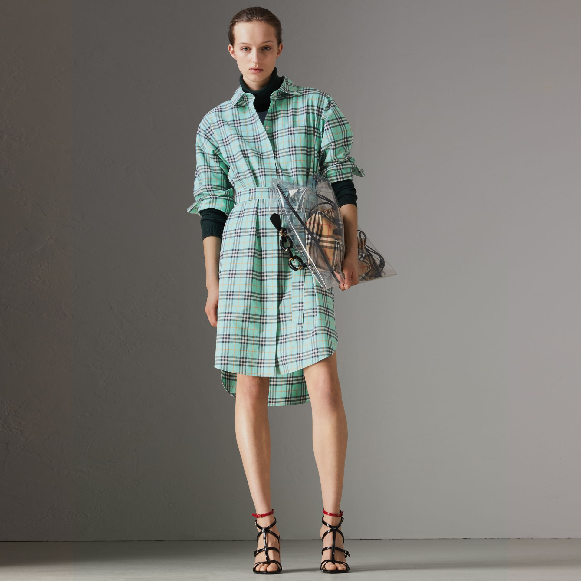 Check Cotton Tie-waist Shirt Dress in Bright Aqua | Burberry - gallery image 0