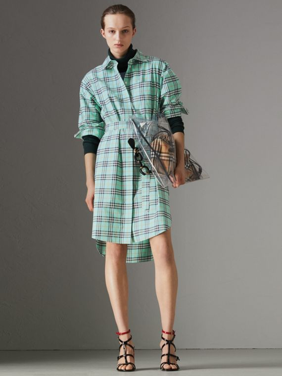 Check Cotton Tie-waist Shirt Dress in Bright Aqua