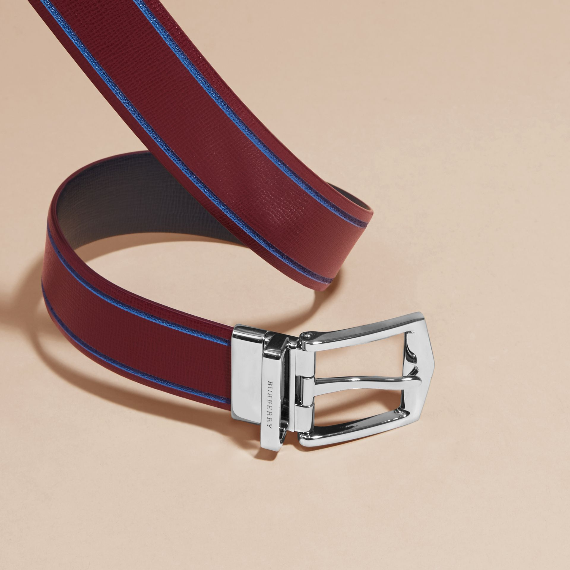 Reversible Border Detail London Leather Belt Burgundy Red/dark Navy - gallery image 3