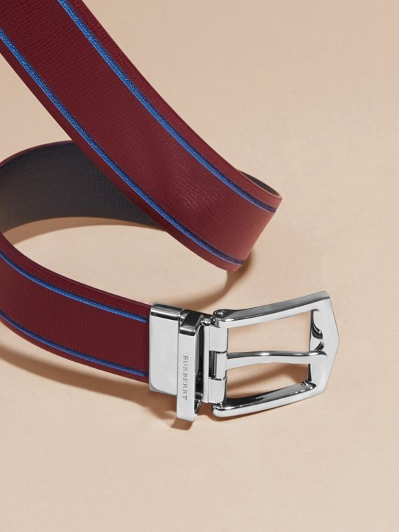 Reversible Border Detail London Leather Belt Burgundy Red/dark Navy - cell image 2