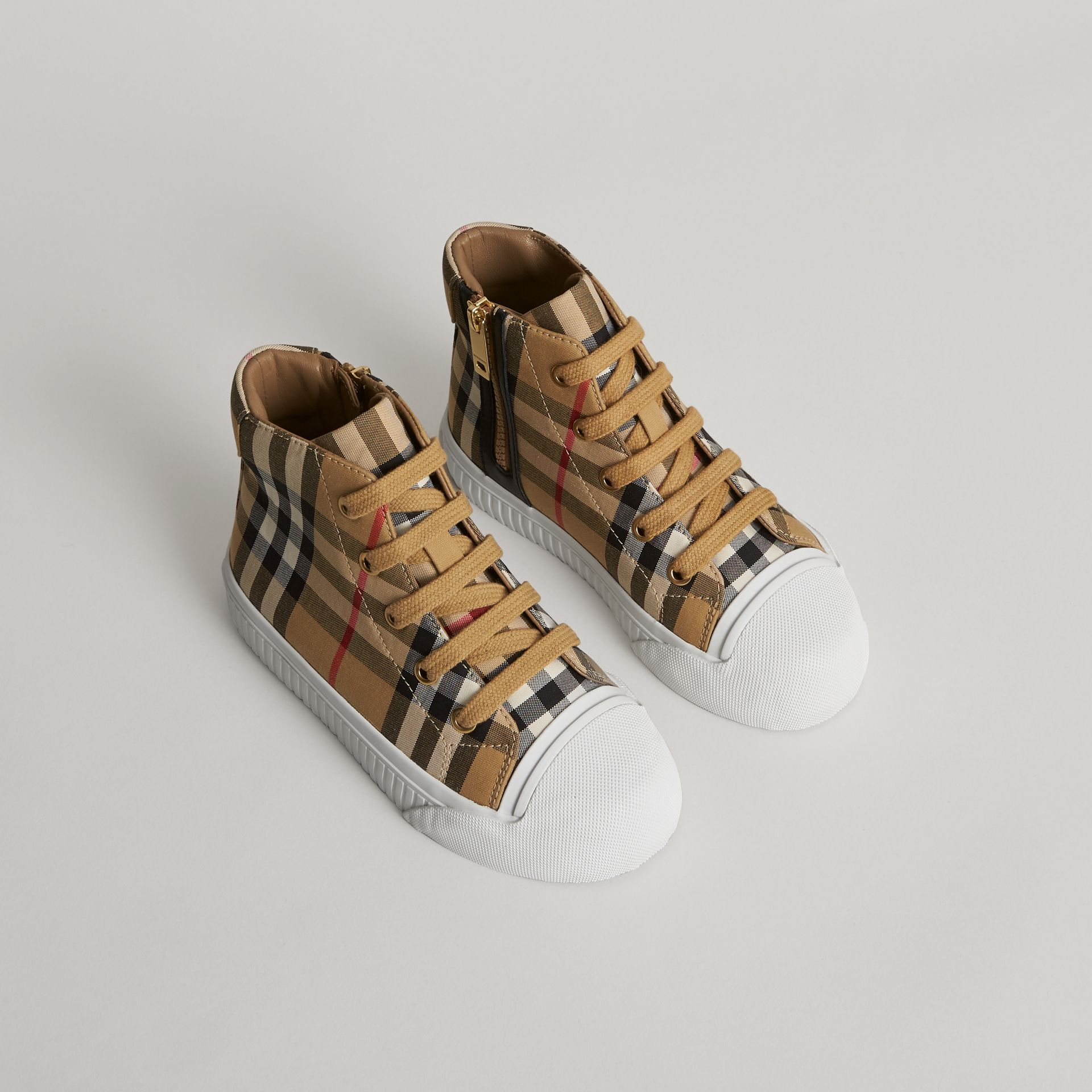 Vintage Check and Leather High-top Sneakers in Antique Yellow/optic White | Burberry Australia - gallery image 0