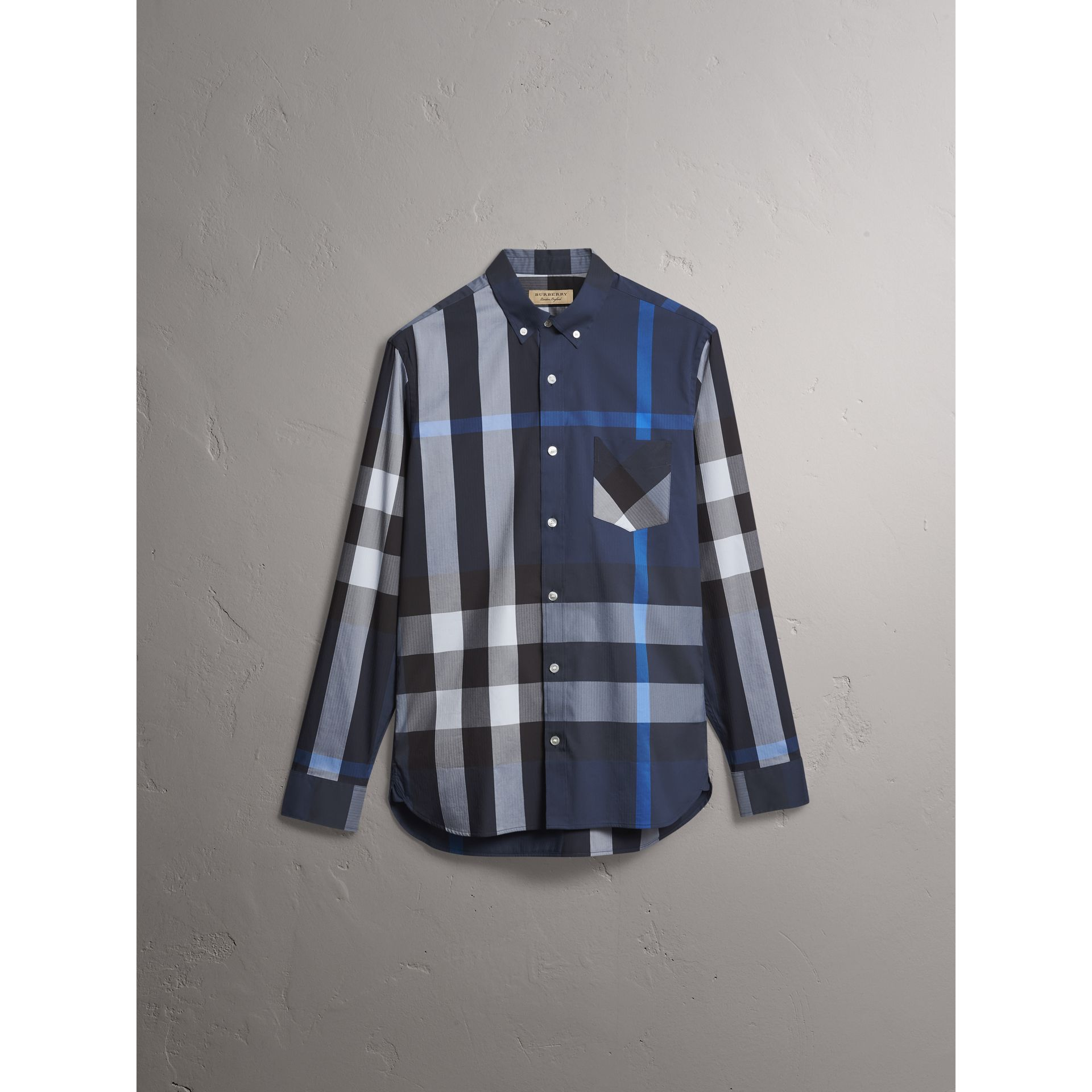 Button-down Collar Check Stretch Cotton Blend Shirt in Canvas Blue - Men | Burberry - gallery image 3