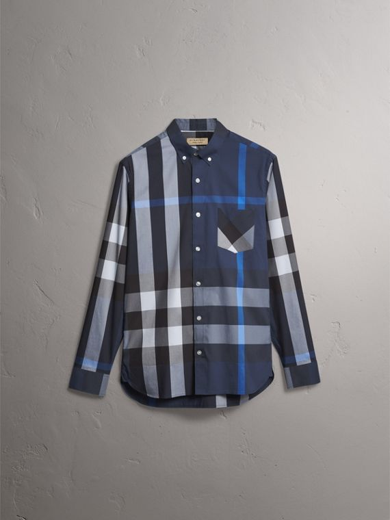 Camicia in misto cotone stretch con motivo tartan e colletto button-down (Blu Tela) - Uomo | Burberry - cell image 3