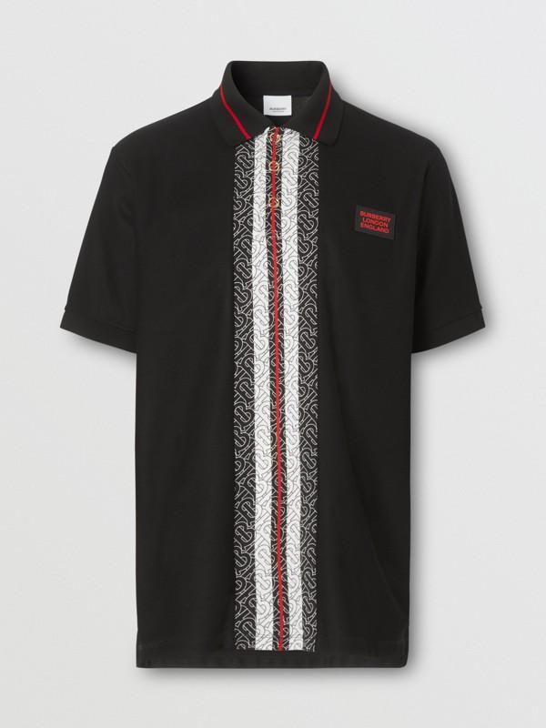 Monogram Stripe Print Cotton Piqué Polo Shirt in Black - Men | Burberry - cell image 3