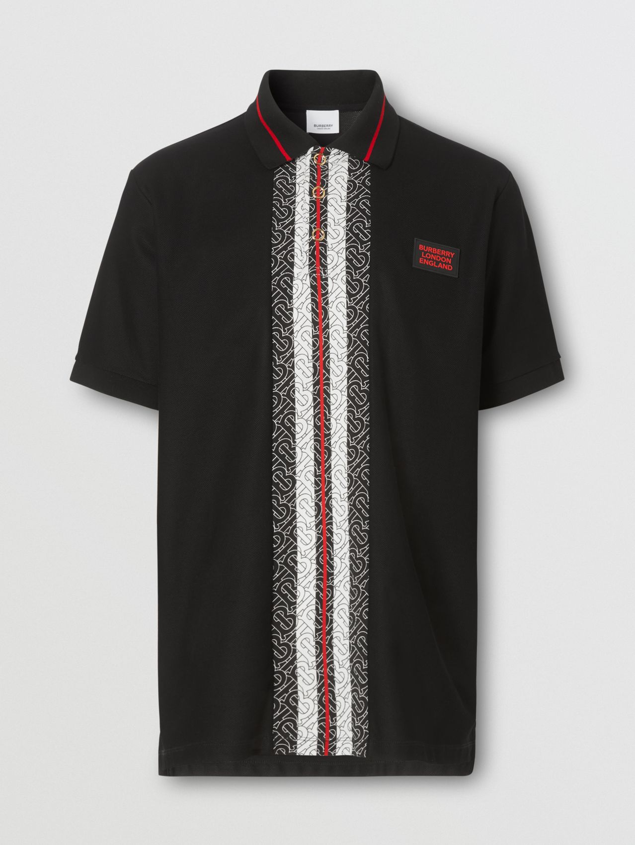 Monogram Stripe Print Cotton Piqué Polo Shirt in Black