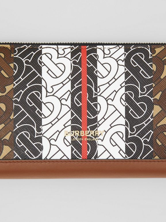 Monogram Stripe E-canvas and Leather Ziparound Wallet in Bridle Brown | Burberry - cell image 1