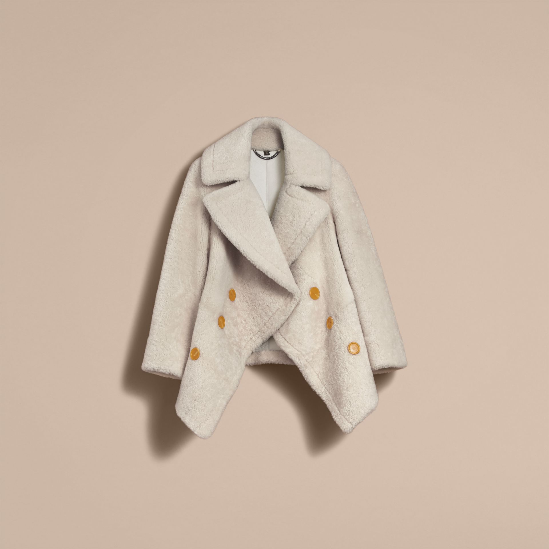 Oversize Collar Teddy Shearling Pea Coat in White - Women | Burberry - gallery image 4