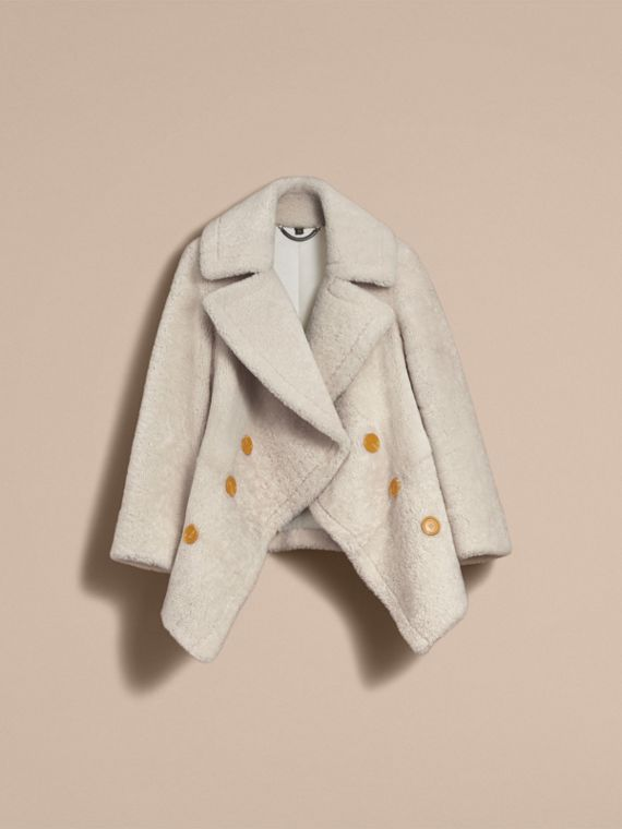 Oversize Collar Teddy Shearling Pea Coat in White - Women | Burberry - cell image 3