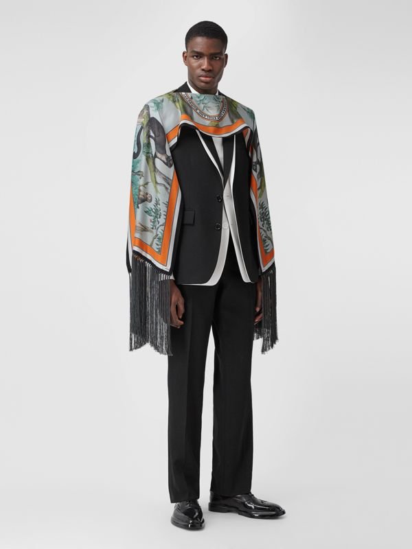 Monkey Print Silk Capelet in Opal Green | Burberry - cell image 2