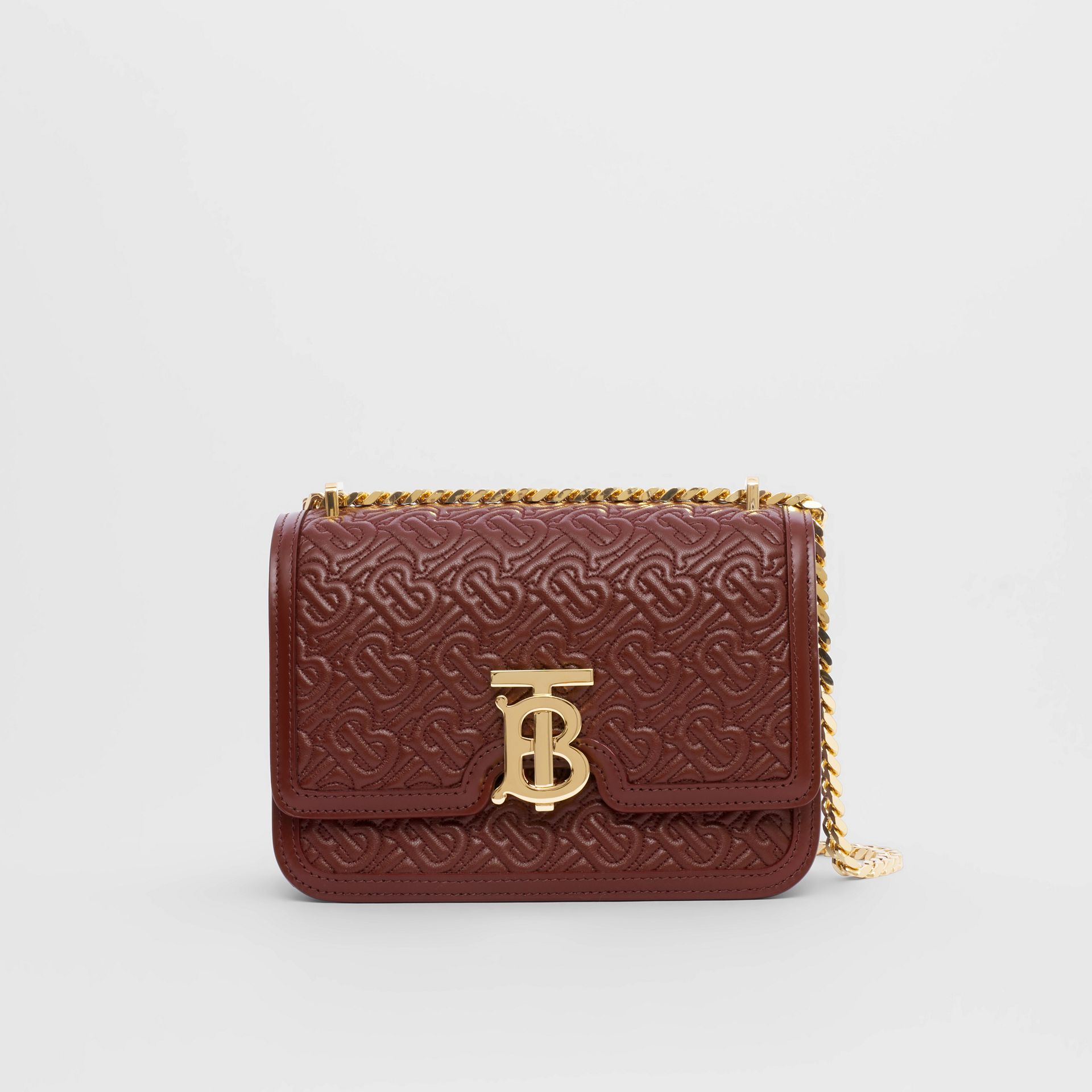 Small Quilted Monogram Lambskin TB Bag in Oxblood - Women | Burberry United Kingdom - gallery image 0