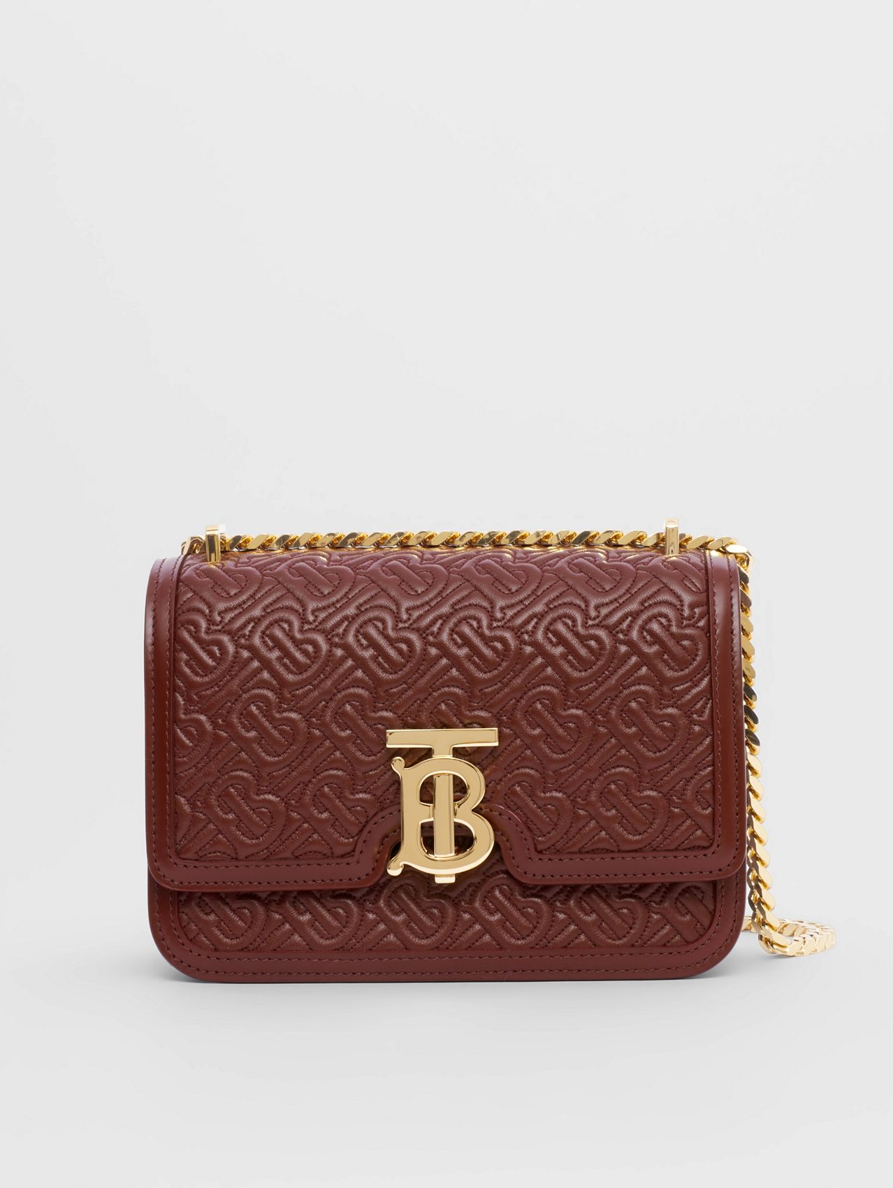 Small Quilted Monogram Lambskin TB Bag in Oxblood