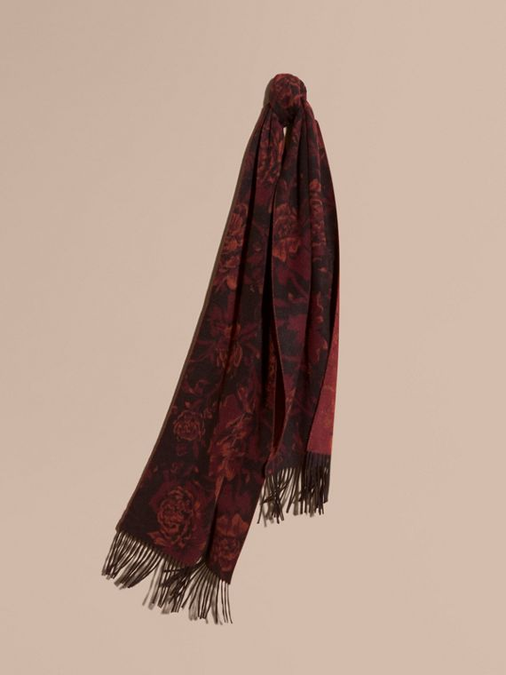 Oversize Peony Rose Jacquard Cashmere Scarf in Burgundy
