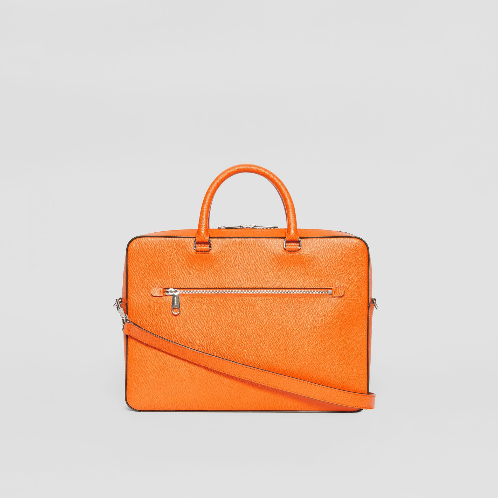 Grainy Leather Briefcase in Bright Orange - Men | Burberry - gallery image 7