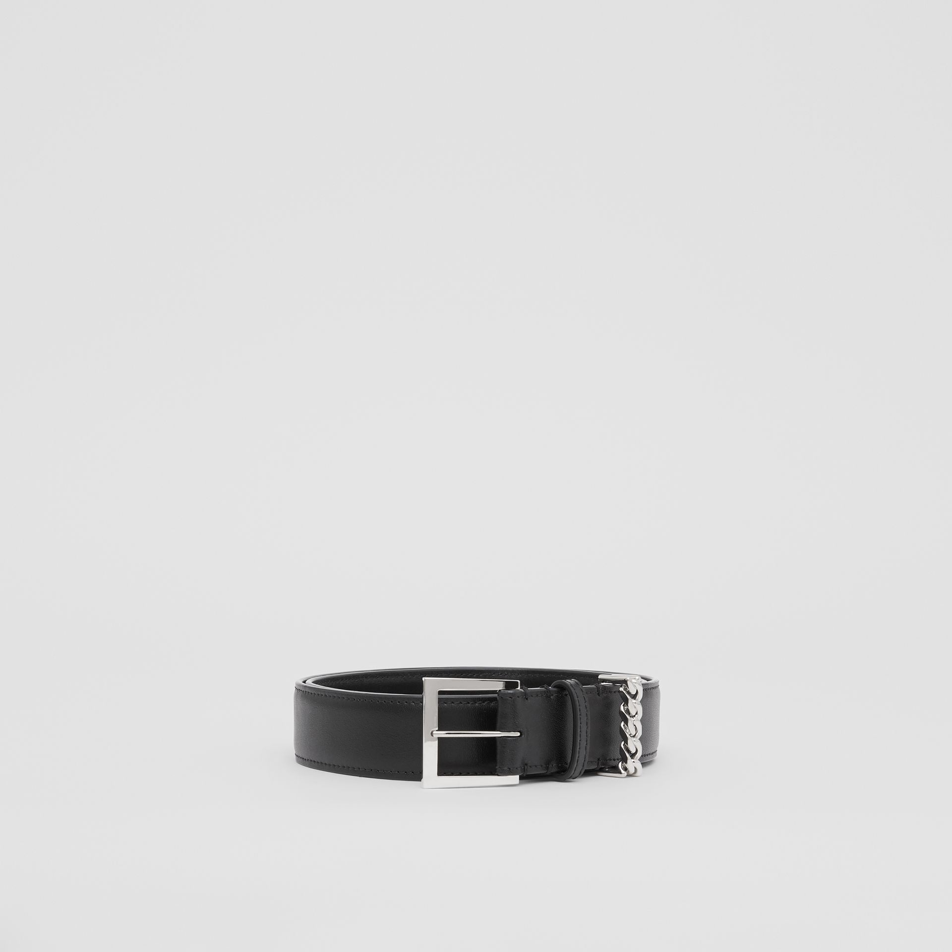 Chain Detail Leather Belt in Black/palladium - Women | Burberry United Kingdom - gallery image 3