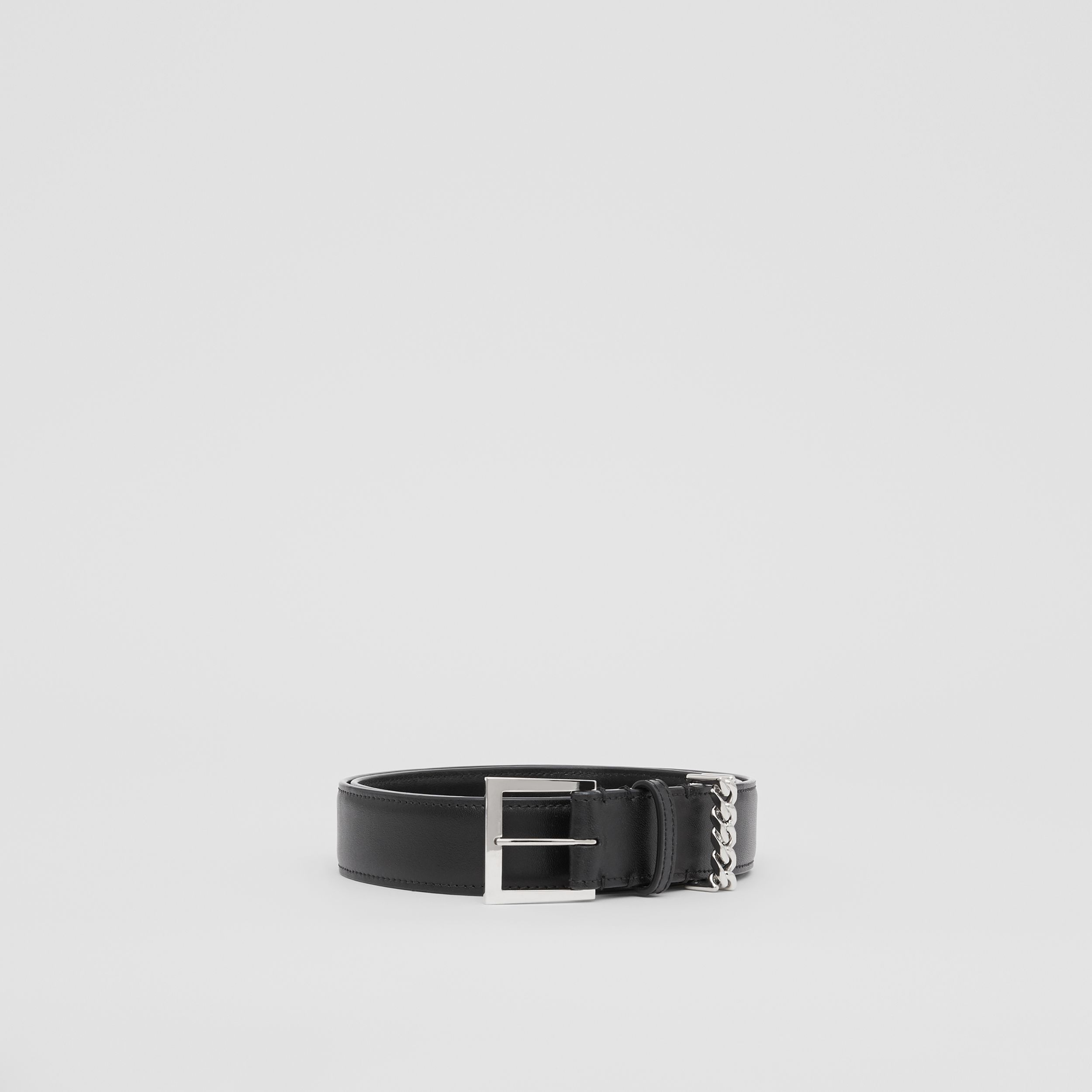 Chain Detail Leather Belt in Black/palladium | Burberry - 4