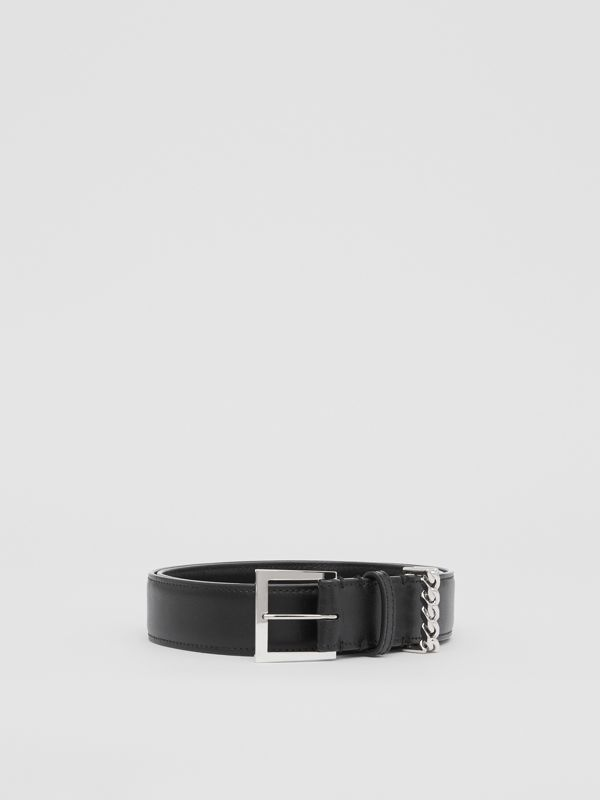 Chain Detail Leather Belt in Black/palladium - Women | Burberry United Kingdom - cell image 3