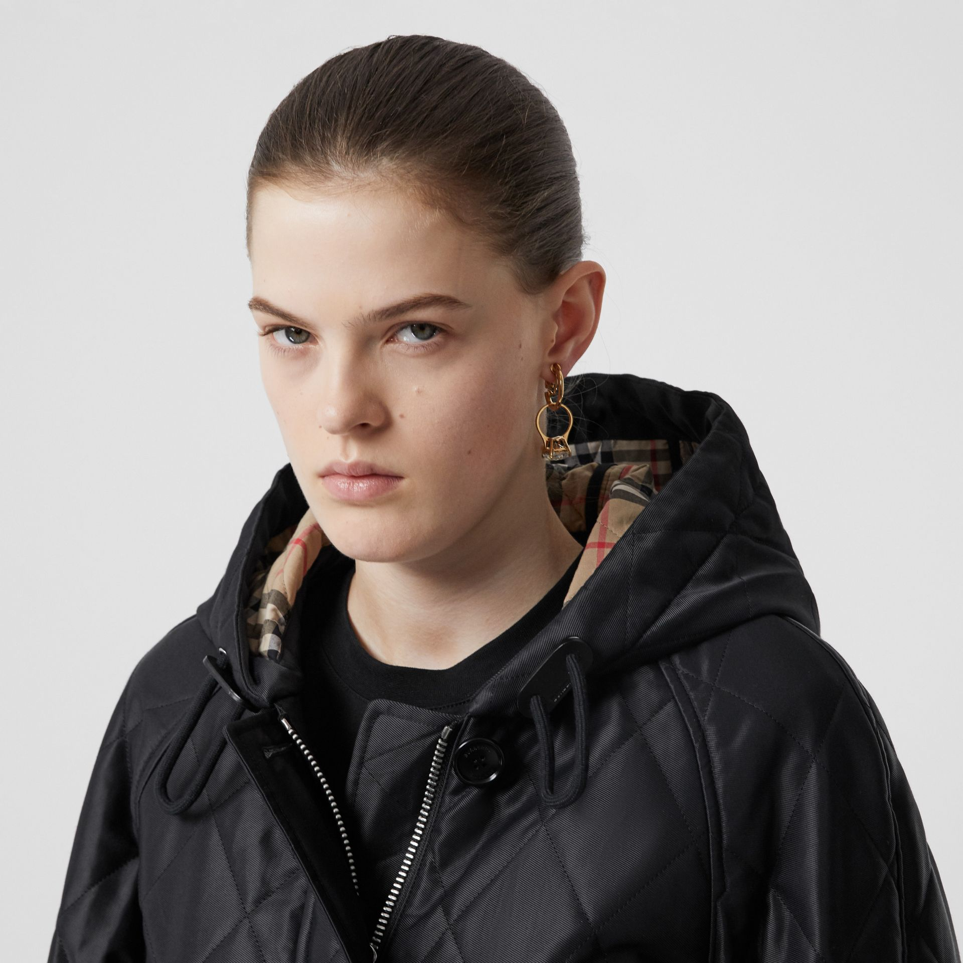 Diamond Quilted Cotton Hooded Coat in Black - Women | Burberry - gallery image 1