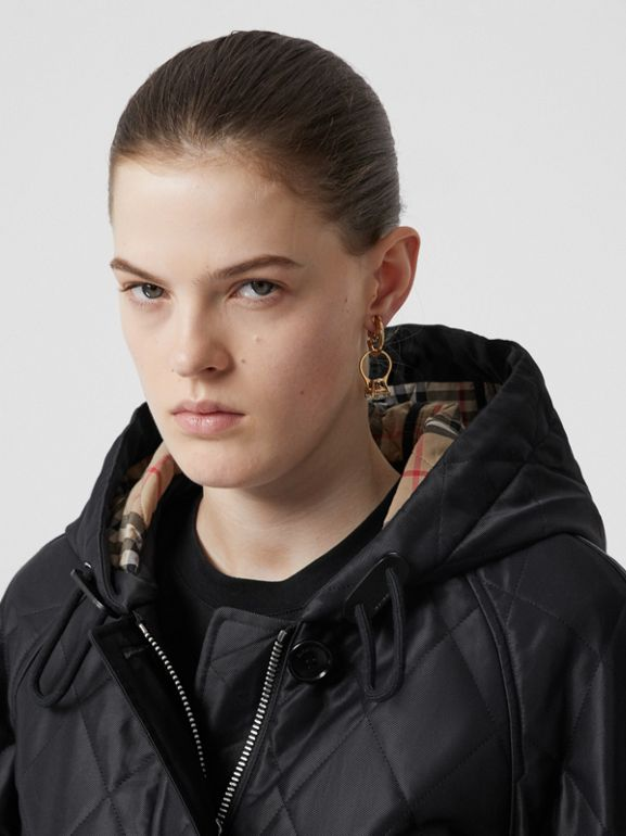 Diamond Quilted Cotton Hooded Coat in Black - Women | Burberry - cell image 1