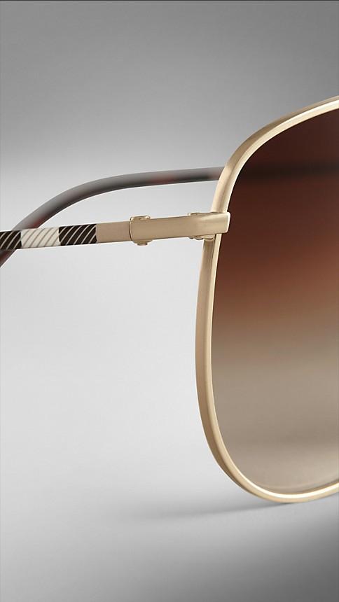 Pale gold Check Arm Aviator Sunglasses - Image 5
