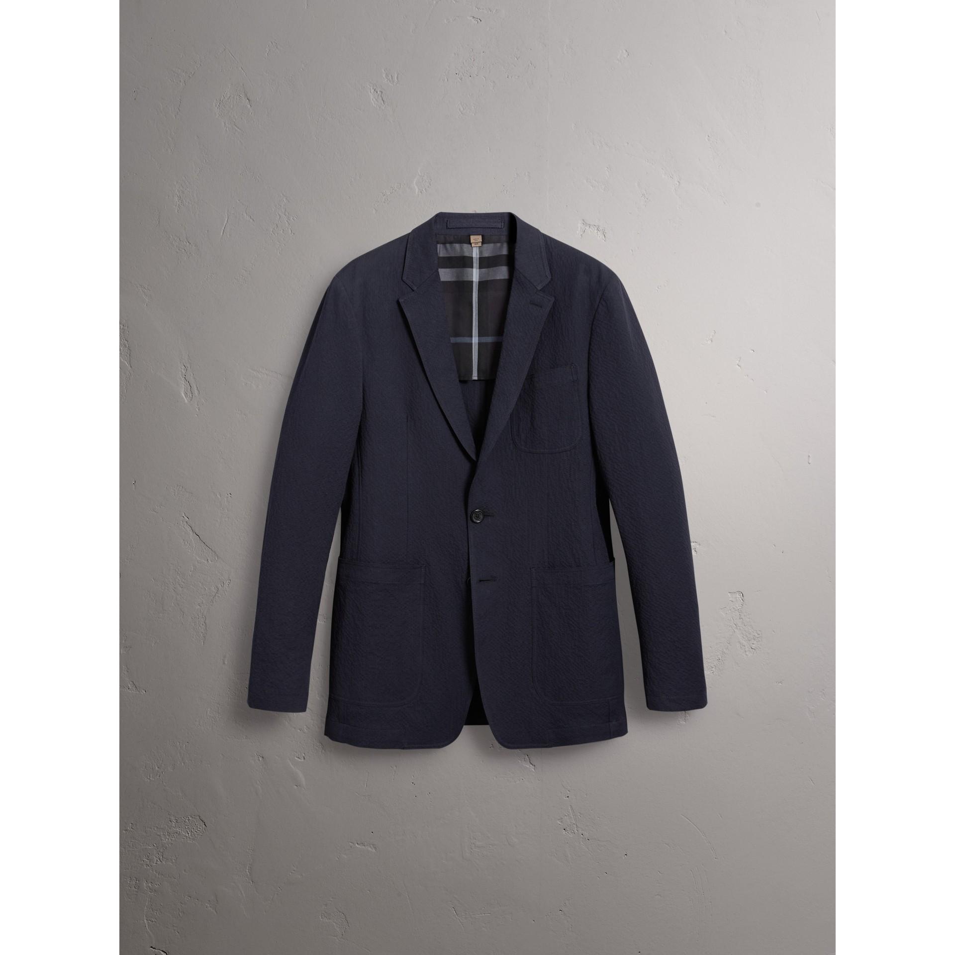 Blazer de anarruga de algodão stretch (Azul Marinho) - Homens | Burberry - galeria de imagens 4