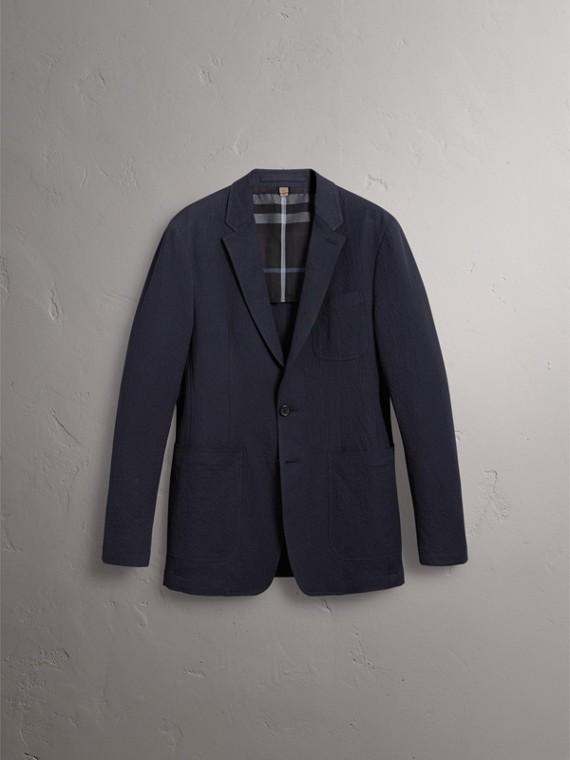Blazer de anarruga de algodão stretch (Azul Marinho) - Homens | Burberry - cell image 3