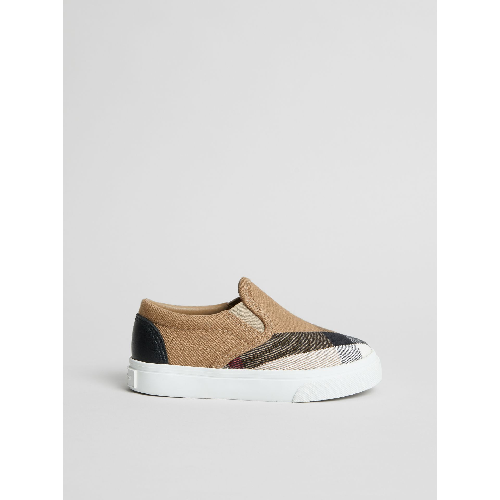 House Check and Leather Slip-on Sneakers in Classic/optic White | Burberry United States - gallery image 3