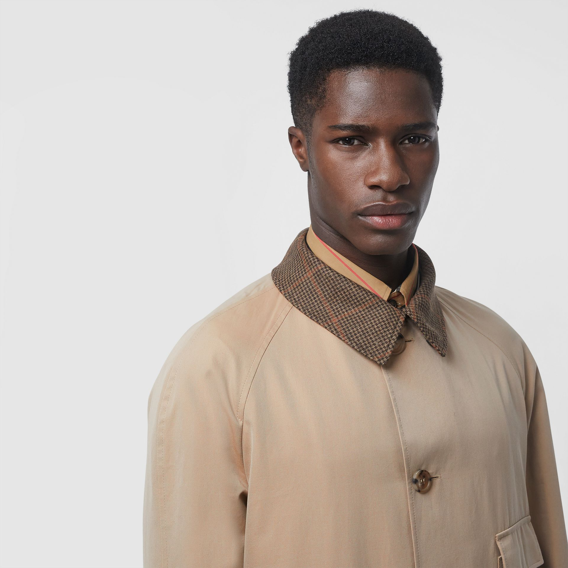 Shearling Collar Cotton Car Coat in Honey - Men | Burberry - gallery image 1