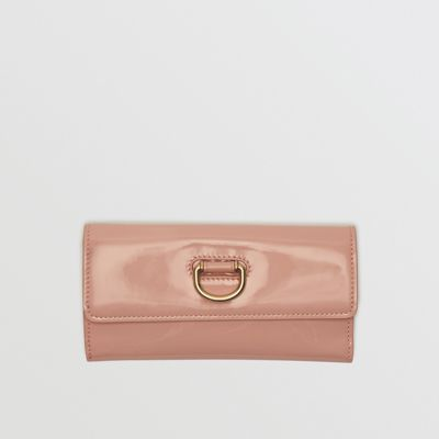 D Ring Patent Leather Continental Wallet by Burberry