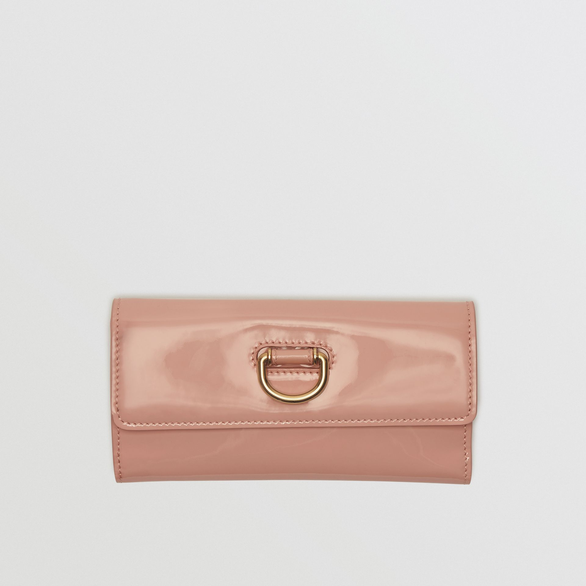 D-ring Patent Leather Continental Wallet in Pale Fawn Pink - Women | Burberry - gallery image 0
