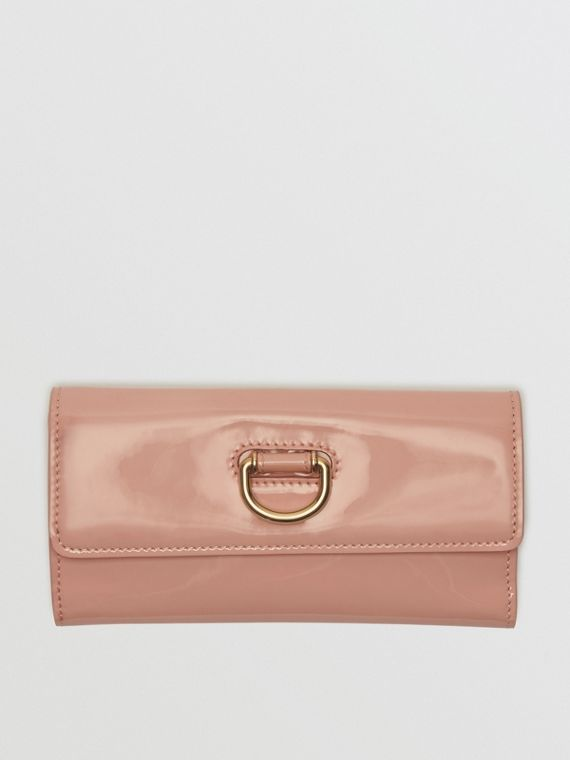 D-ring Patent Leather Continental Wallet in Pale Fawn Pink
