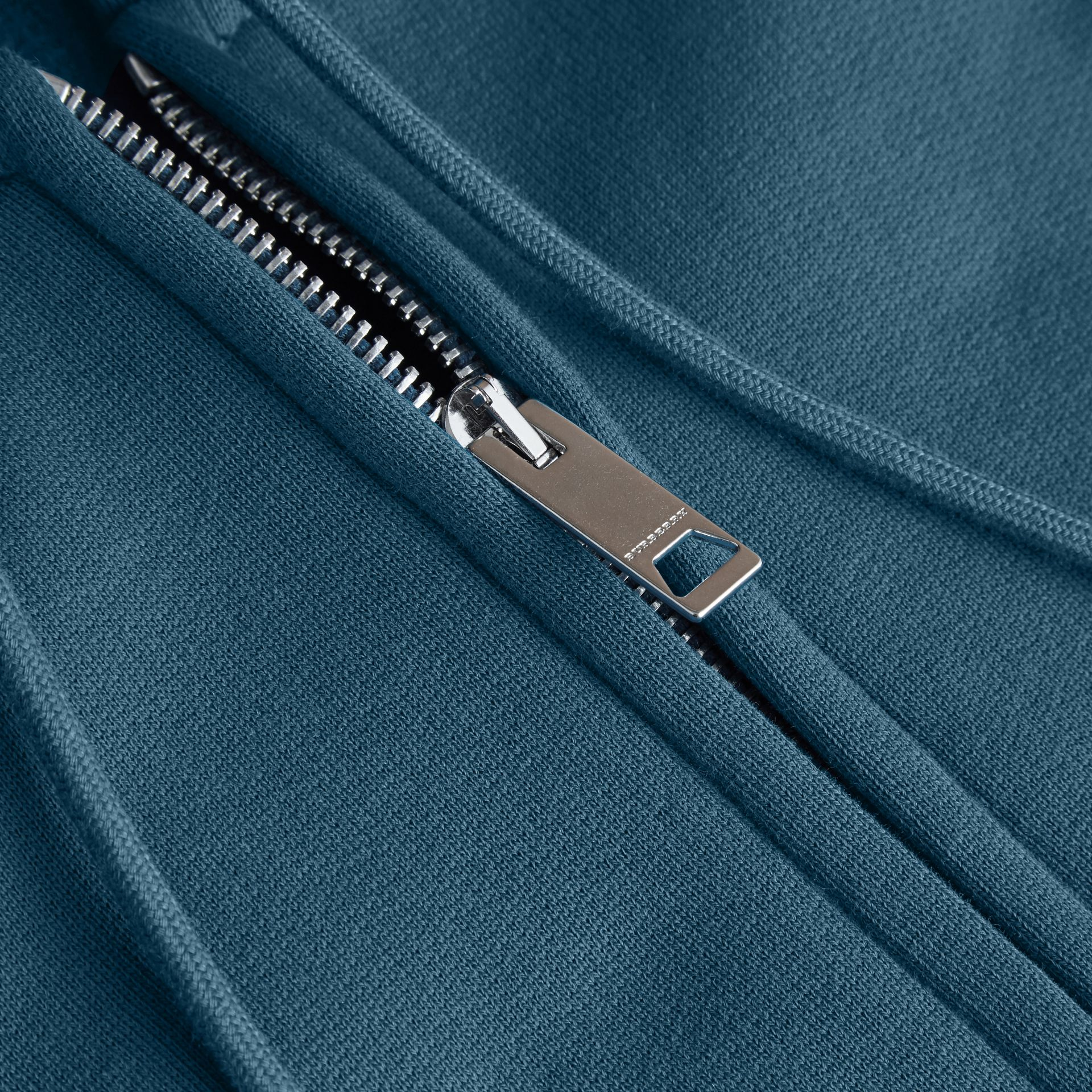 Hooded Cotton Jersey Top in Mineral Blue - Men | Burberry - gallery image 2