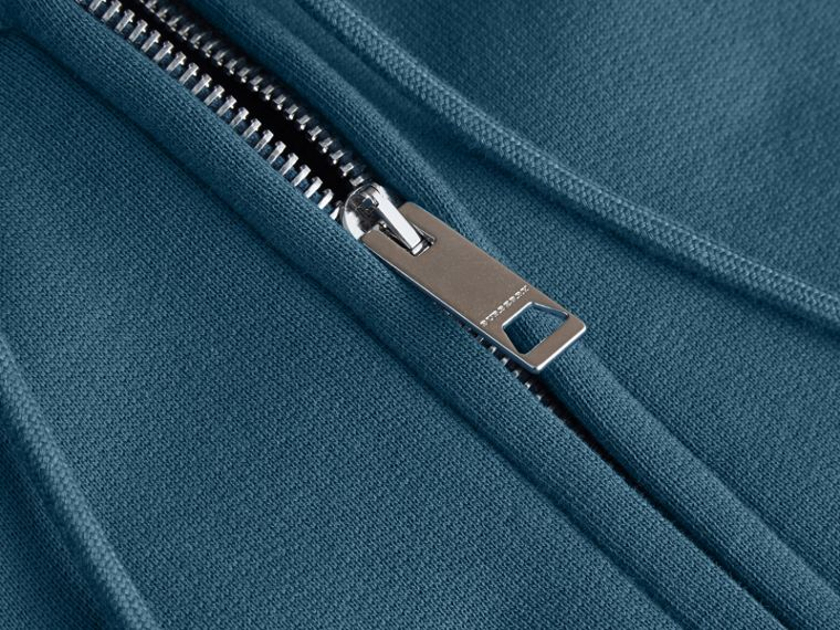 Hooded Cotton Jersey Top in Mineral Blue - Men | Burberry - cell image 1
