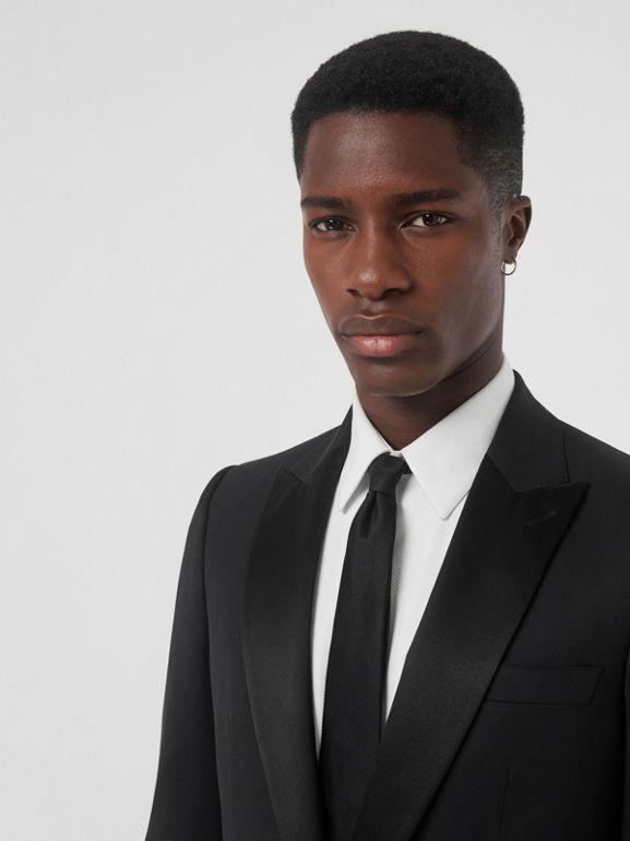 Classic Fit Wool Silk Tuxedo in Black - Men | Burberry United States - cell image 1