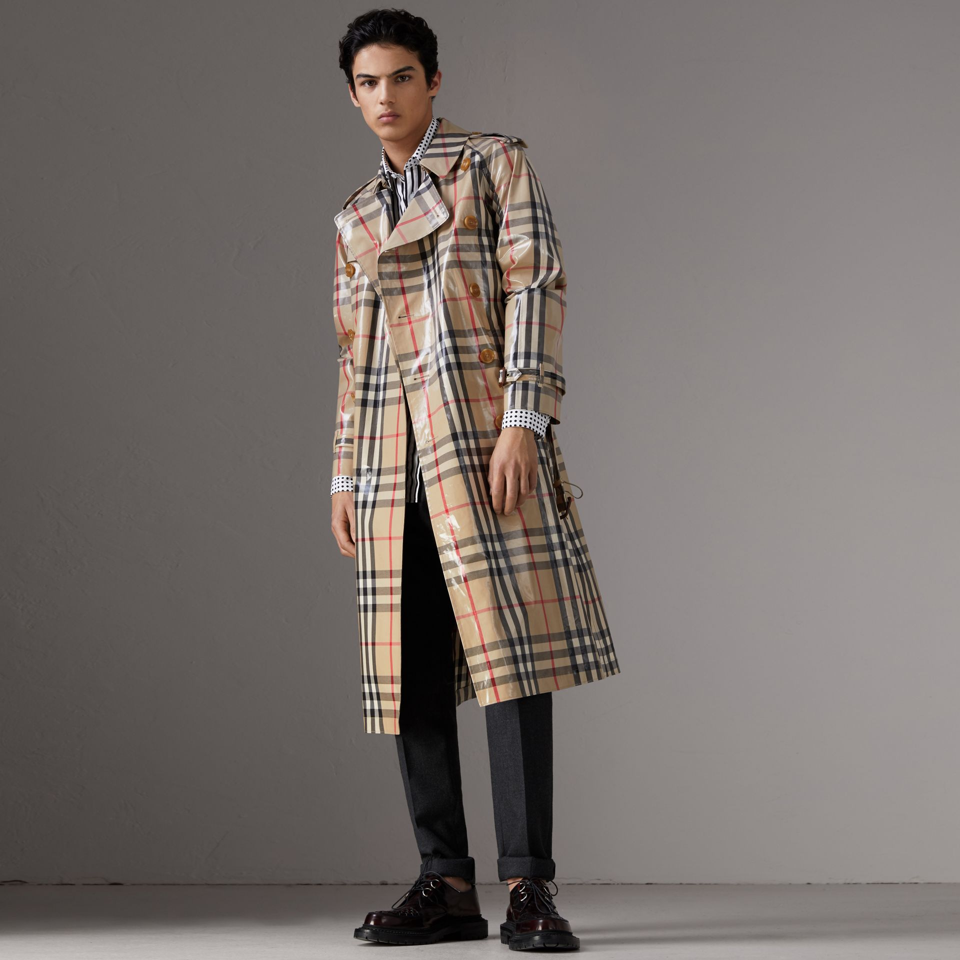 Laminated Check Cotton Trench Coat in New Classic - Men | Burberry - gallery image 0