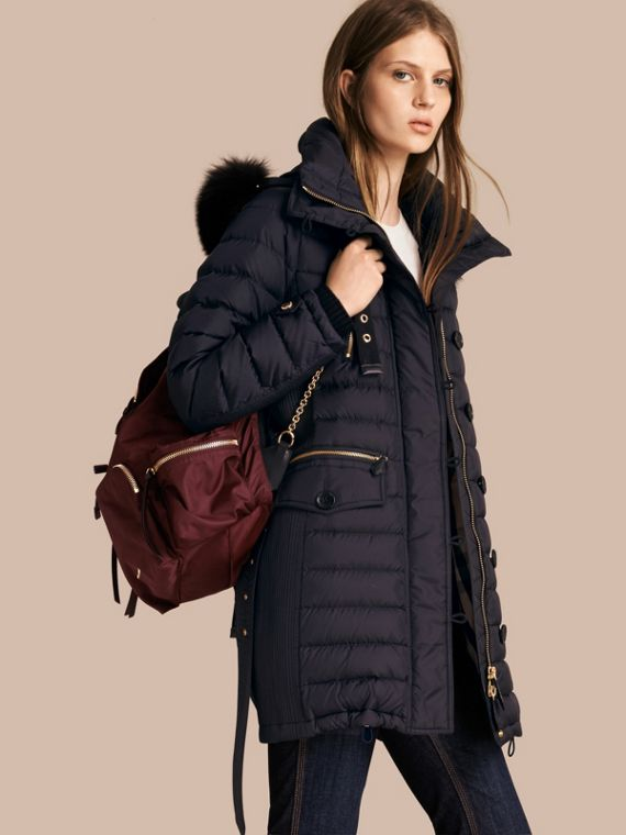 Slim Fit Down-filled Parka with Fur Trim Navy