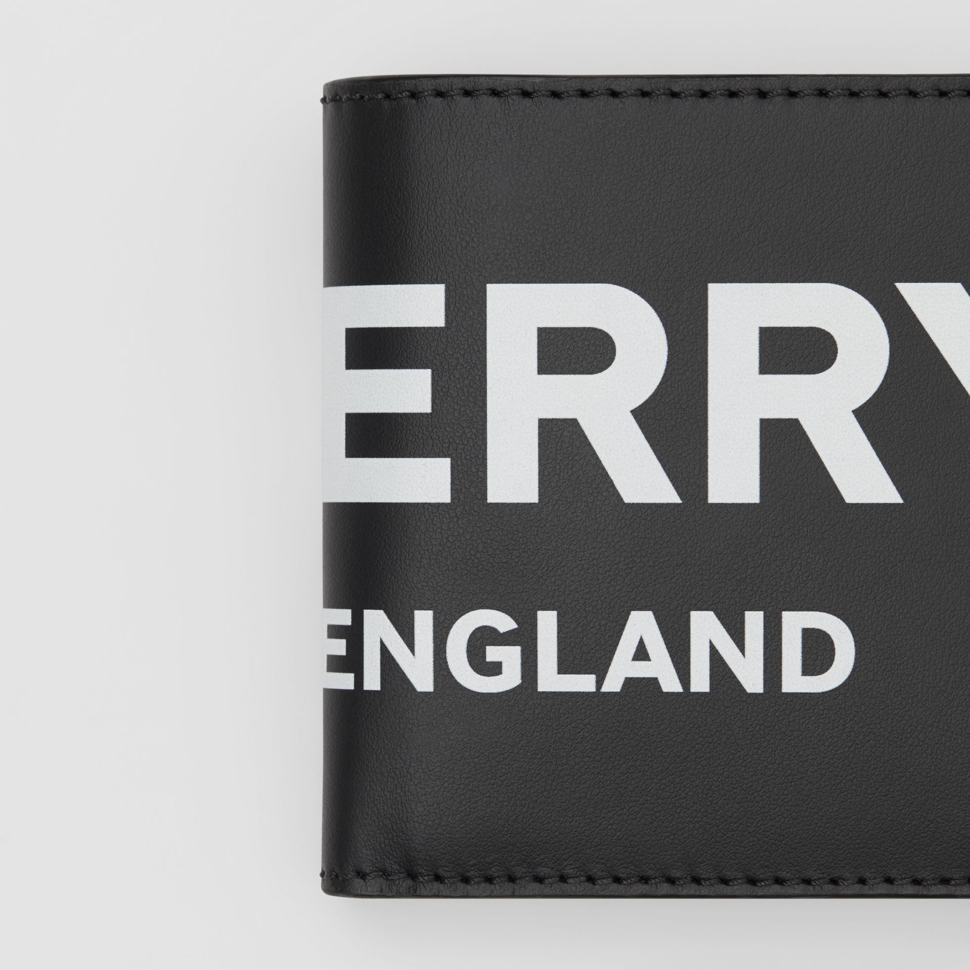 Logo Print Leather International Bifold Coin Wallet in Black | Burberry - gallery image 1