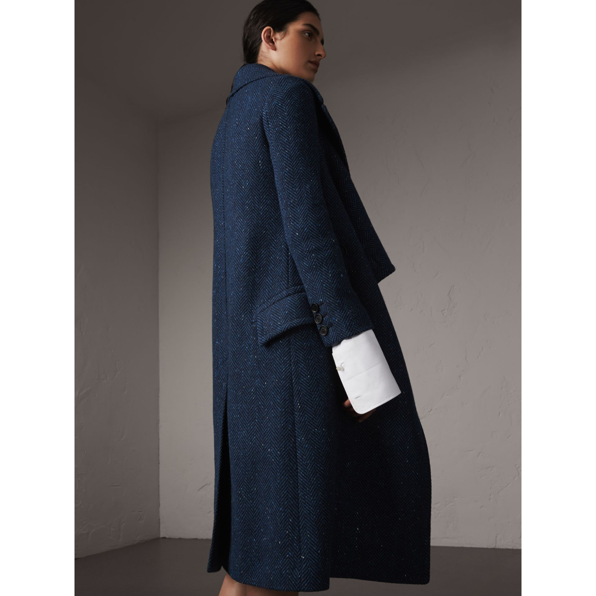 Herringbone Wool Cashmere Tweed Asymmetric Coat in Navy - Women | Burberry - gallery image 3