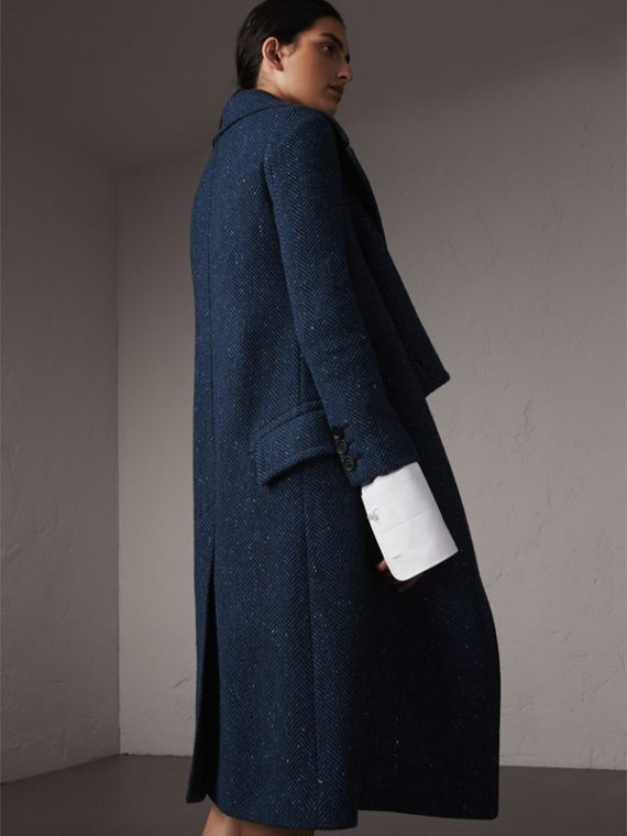 Herringbone Wool Cashmere Tweed Asymmetric Coat in Navy - Women | Burberry - cell image 2