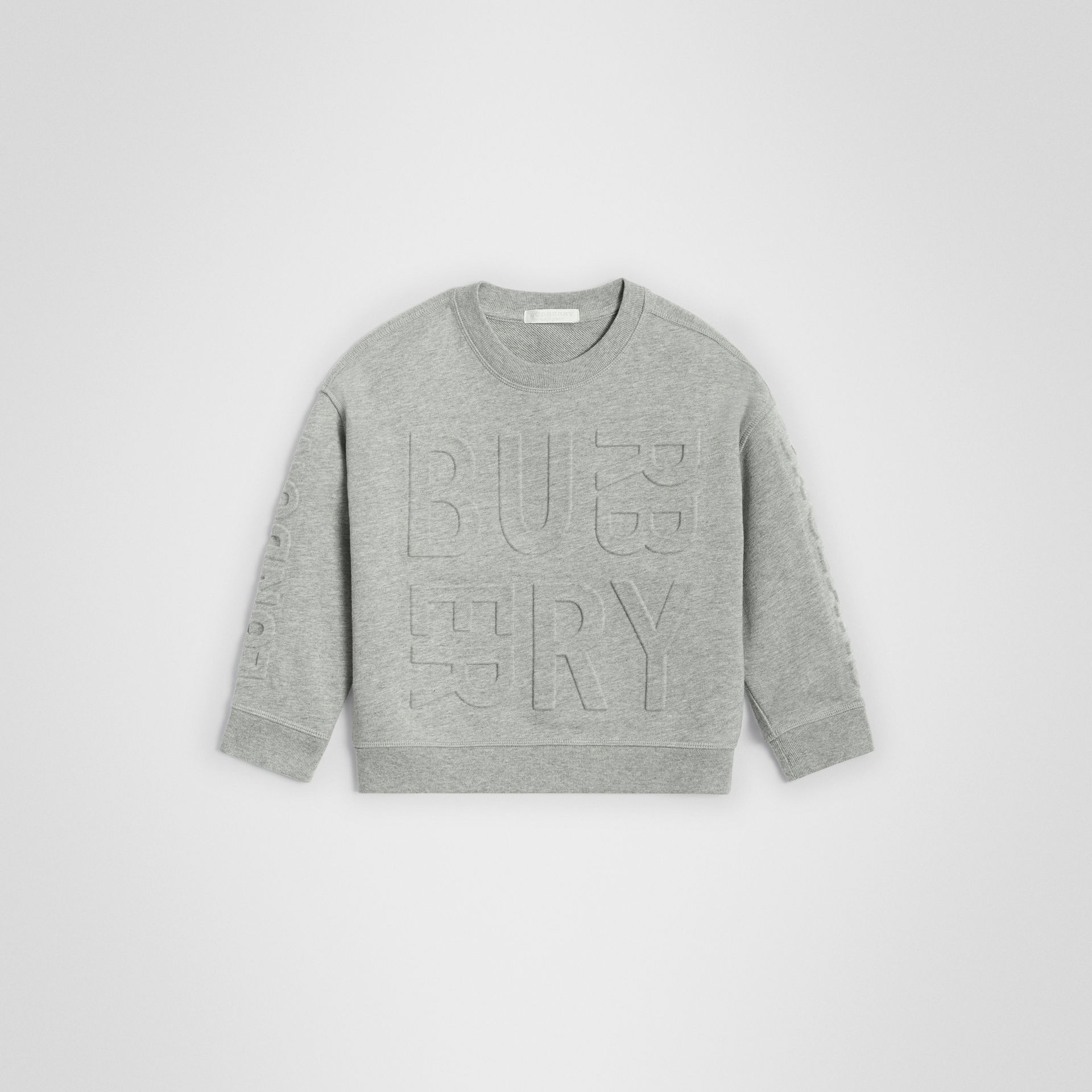 Embossed Logo Cotton Sweatshirt in Grey Melange | Burberry - gallery image 0