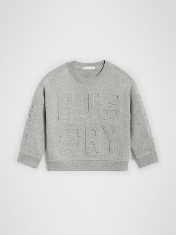 Embossed Logo Cotton Sweatshirt in Grey Melange
