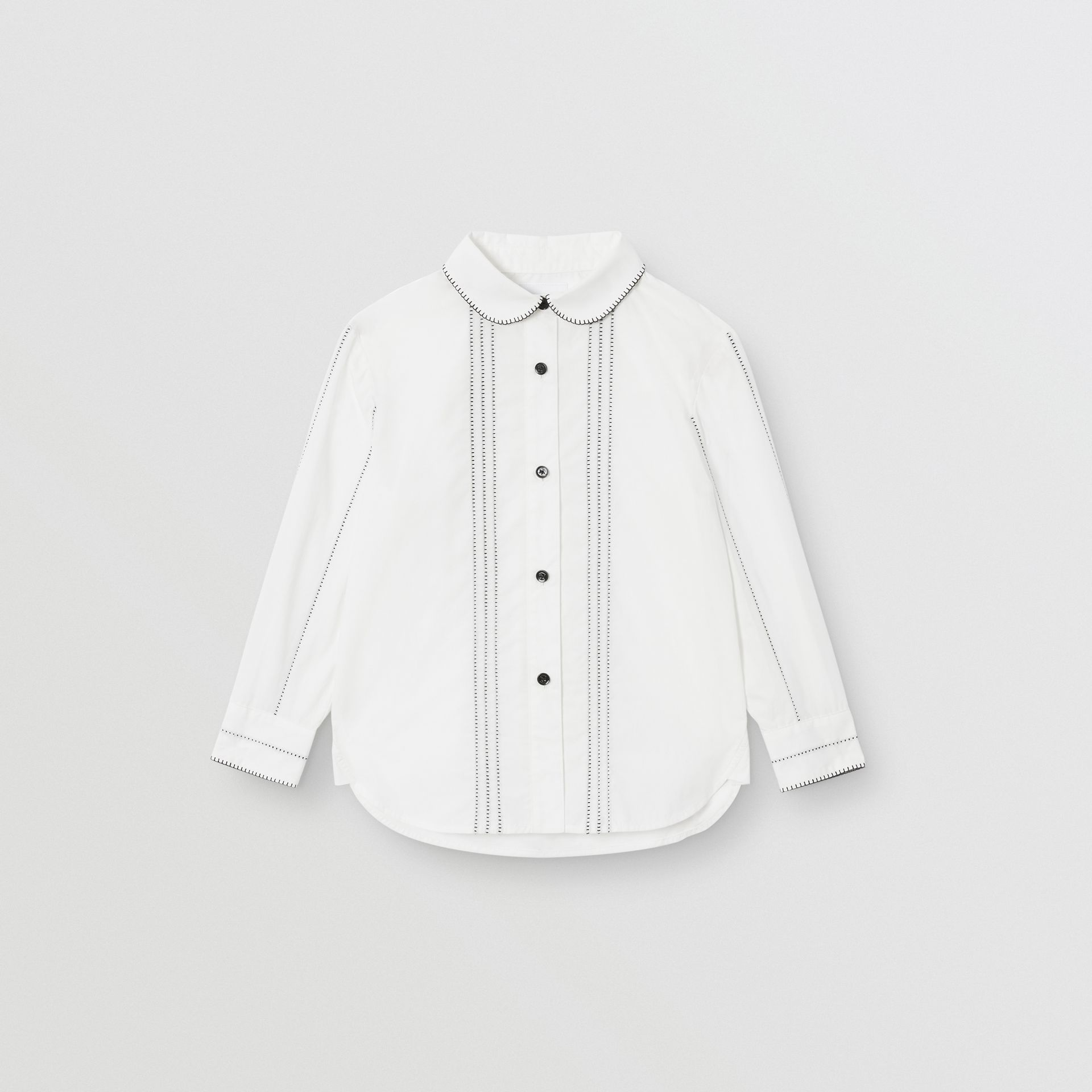 Peter Pan Collar Stretch Cotton Poplin Shirt in White | Burberry - gallery image 0