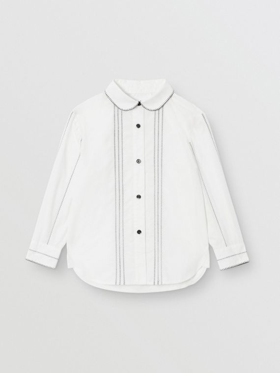 Peter Pan Collar Stretch Cotton Poplin Shirt in White