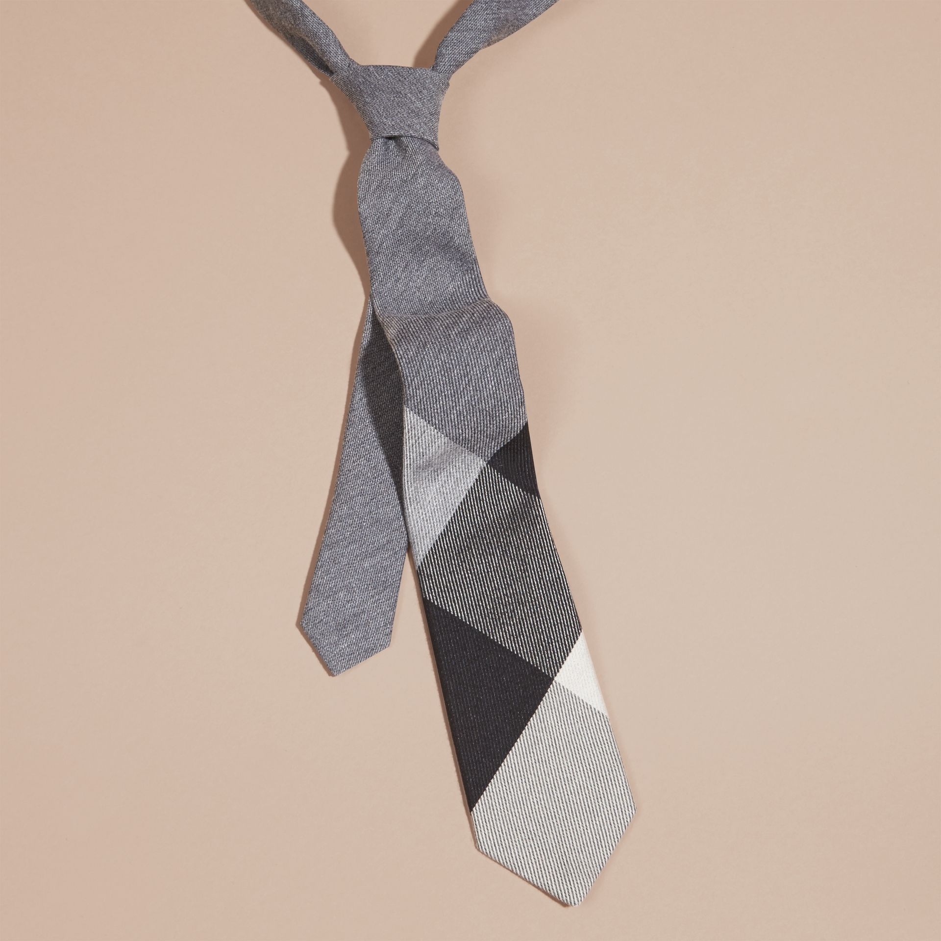 Light grey melange Modern Cut Check Cashmere Silk Tie Light Grey Melange - gallery image 3