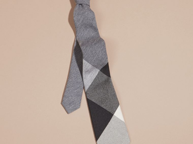 Light grey melange Modern Cut Check Cashmere Silk Tie Light Grey Melange - cell image 2
