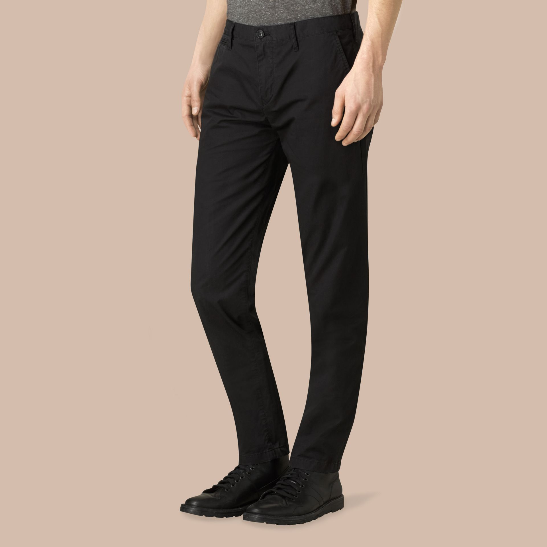 Slim Fit Cotton Chinos in Black - Men | Burberry - gallery image 3