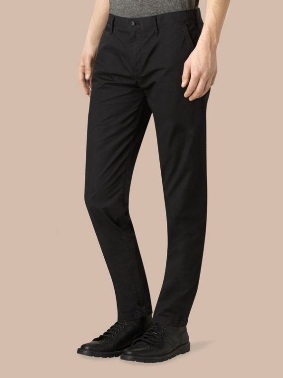 Slim Fit Cotton Chinos in Black - Men | Burberry Australia